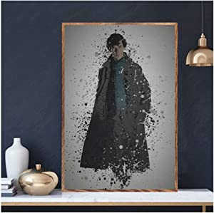 XuFan Sherlock Holmes TV Series Art Canvas Poster Home Wall Decor Wall Art for Living Room Print on canvas/50X70cm-No Frame