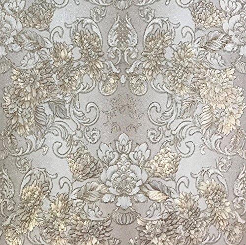QUADRUPLE ROLL 113.52sq.ft (4 single rolls size) Slavyanski wallcovering washable victorian pattern Vinyl Non-Woven Wallpaper white ivory gold silver beige textured glitters damask metallic 3D floral