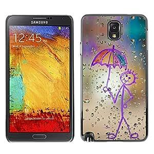 TopCaseStore / la caja del caucho duro de la cubierta de protección de la piel - Childrens Drawing Stickman Art Umbrella Rain - Samsung Galaxy Note 3 N9000 N9002 N9005