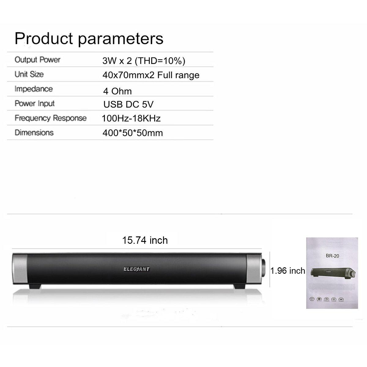 ELEGIANT USB Powered Sound Bar Speakers for Computer Desktop Laptop PC, Black by ELEGIANT (Image #9)