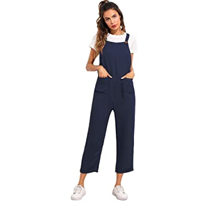 Verdusa Women's Sleeveless Straps Pockets Plaid Culotte Jumpsuit Overalls: Clothing