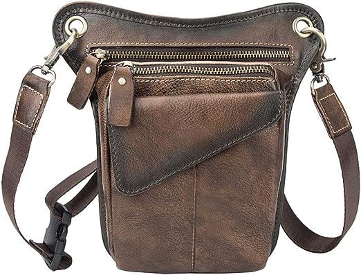 qingqingR Men Motorcycle Rider Leather Drop Leg Bag Military Belt Waist Fanny Pack: Amazon.es: Hogar