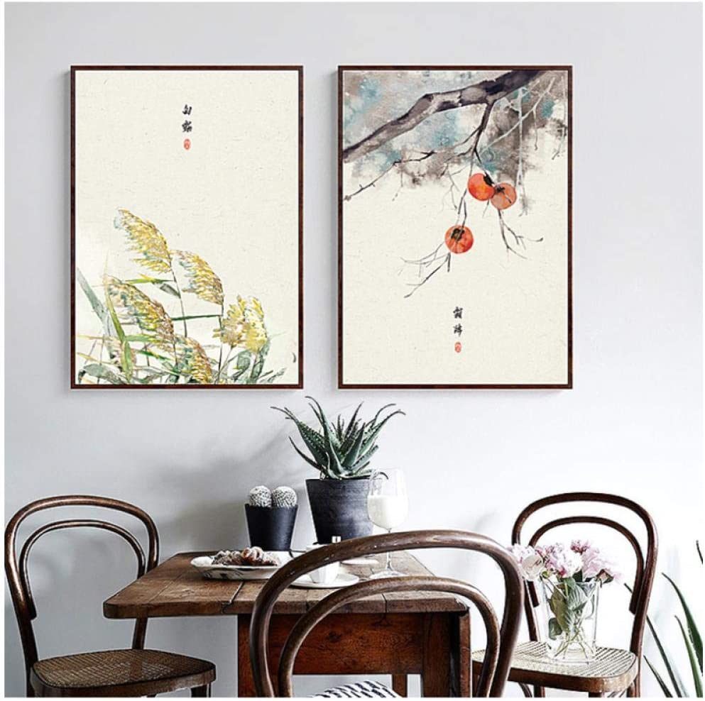 woplmh Vintage Home Decoration Canvas Painting Classical Chinese Ink Posters Abstract Plants Flowers Food Wall Art Picture for Kitchen-40x50cmx2Pcs no Frame