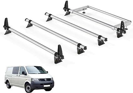 Van Demon Rhino Delta 4 barras de techo y sistema de escalera trasera de acero para VW Transporter T5 (03 – 15) [LWB, portón trasero]: Amazon.es: Coche y moto