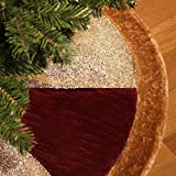 Valery Madelyn 48 Inch Luxury Red and Gold Sequin Velvet Christmas Tree skirt with Fur Trim Border,Themed with Christmas Ornaments (Not Included)