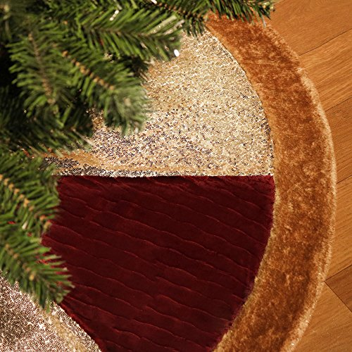 Valery Madelyn 48 Inch Luxury Red and Gold Sequin Velvet Christmas Tree skirt with Fur Trim Border,Themed with Christmas Ornaments
