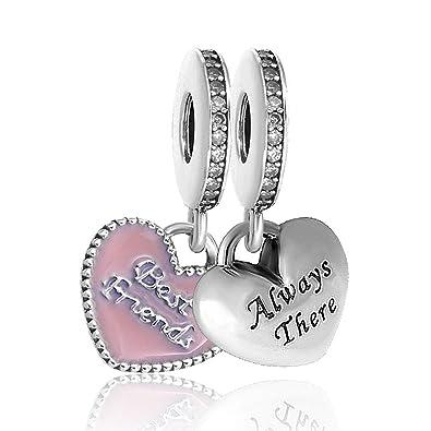 5662d4512 Amazon.com: Romántico Amor fit Pandora Bracelets 2 PCS Best Friends BFF Dangle  Charm Heart Sliver Beads (BFF1): Jewelry