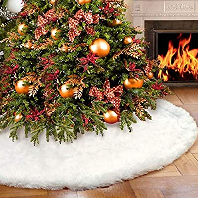 AMAUK Christmas Tree Skirt, White Faux Fur Tree Skirt Ornaments, Double Layer Design Merry Christmas Year Party Holiday Home Decorations