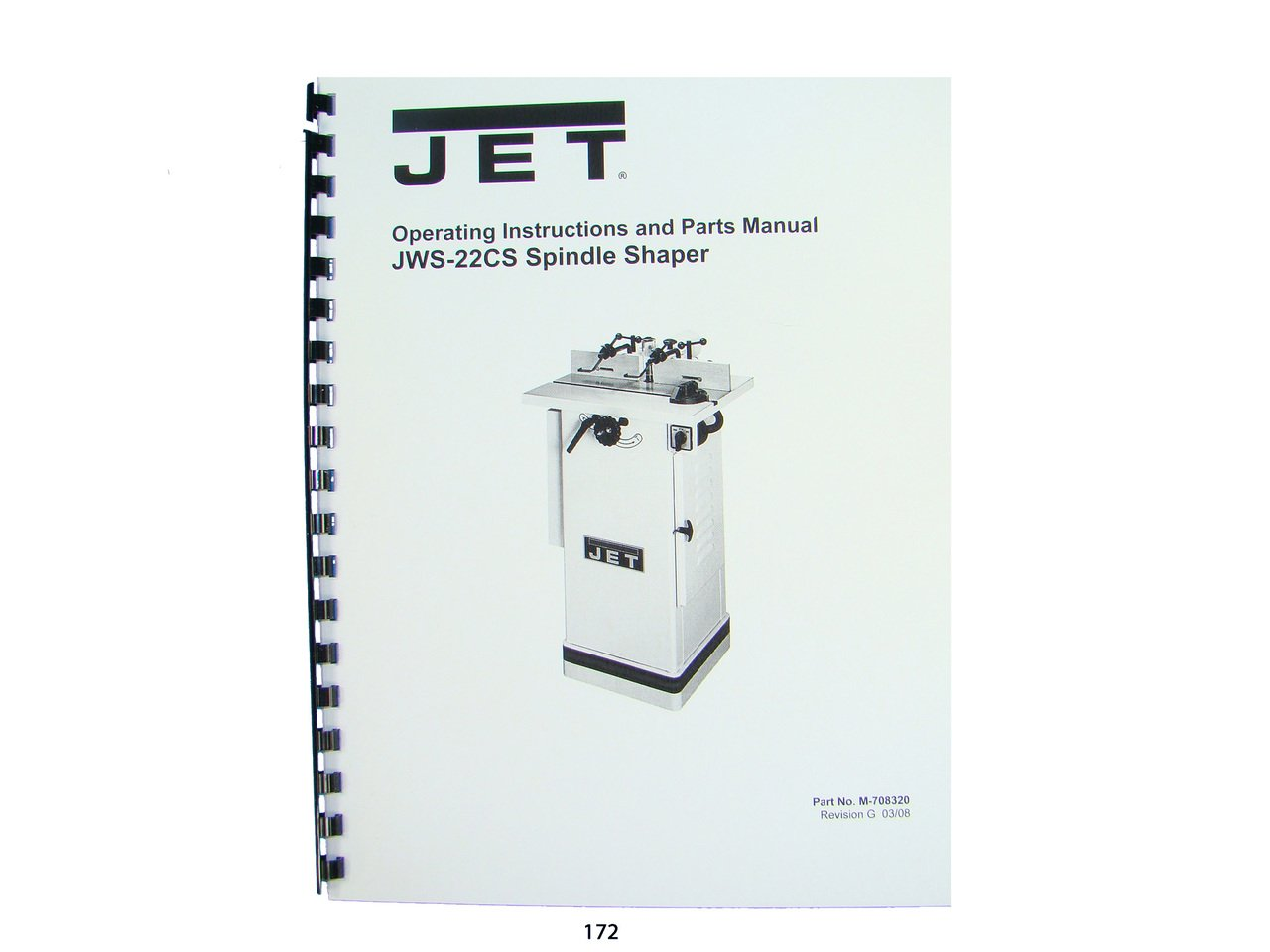 jet jws-22cs spindle shaper operator instruction & parts manual plastic  comb – 1960