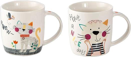 Juego de 2 Tazas Desayuno Originales de Porcelana, Tazas de Café ...