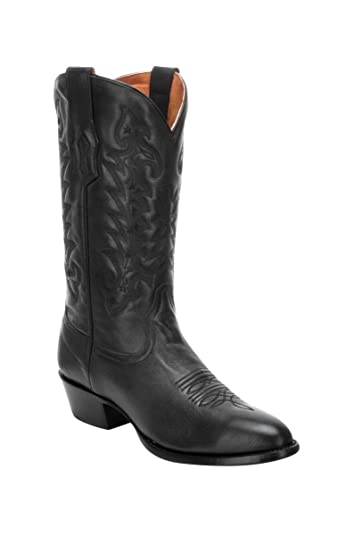Men's Black Round Toe Cowboy Boots A3295