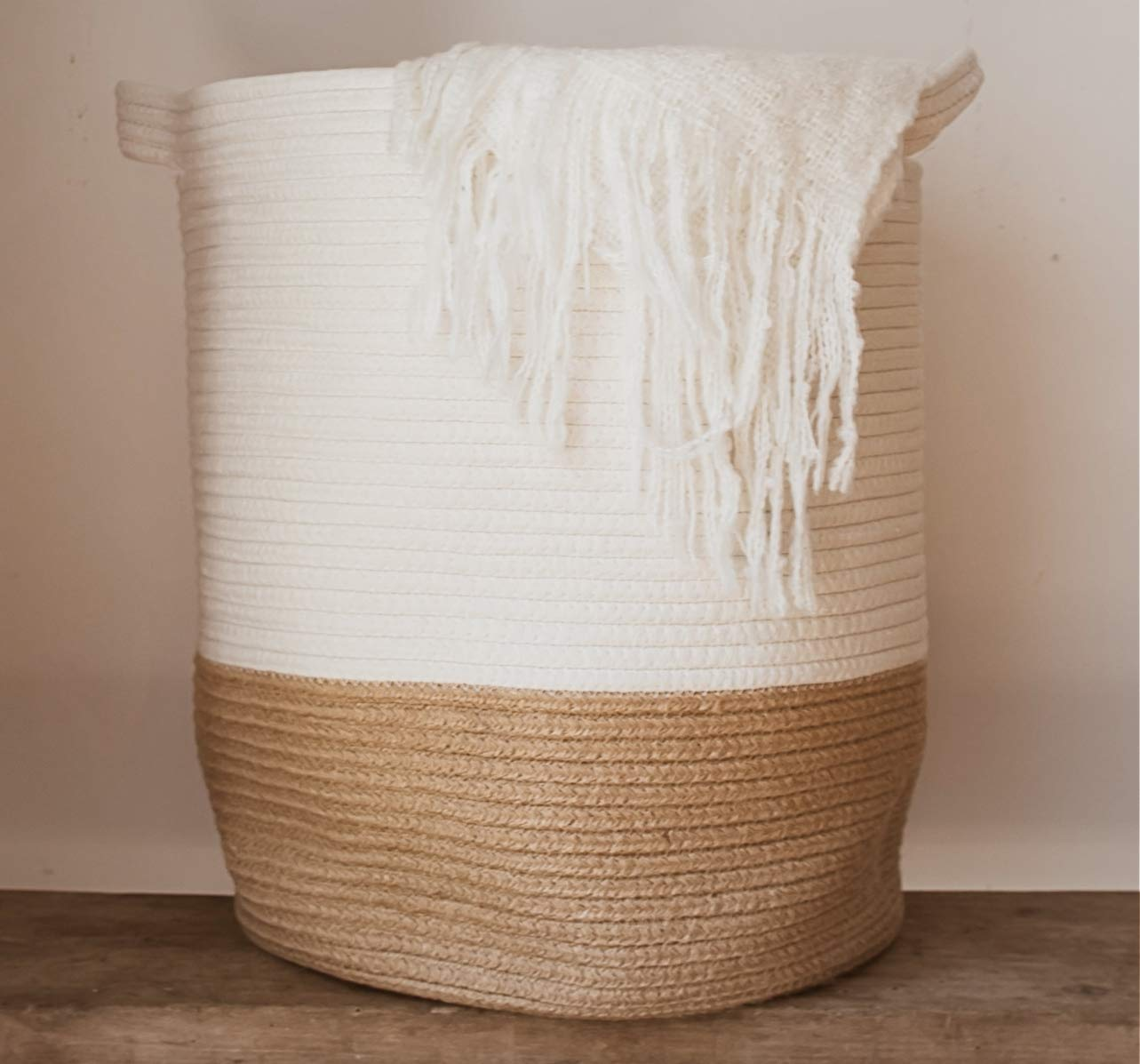 "Extra Large Woven Storage Baskets | 18"" x 14"" Decorative Blanket Basket, Use For Sofa Throws, Pillows, Towels, Toys or Nursery 
