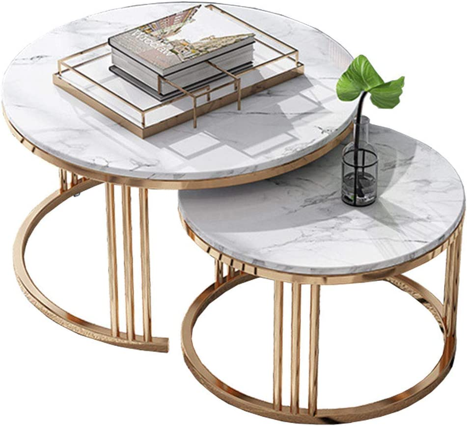 Home Décor Furniture Nordic Round Nesting Tables, Leisure Coffee Table, Marble Top, Metal Base, Set of 2, for Living Room or Lounge Living Room or Lounge