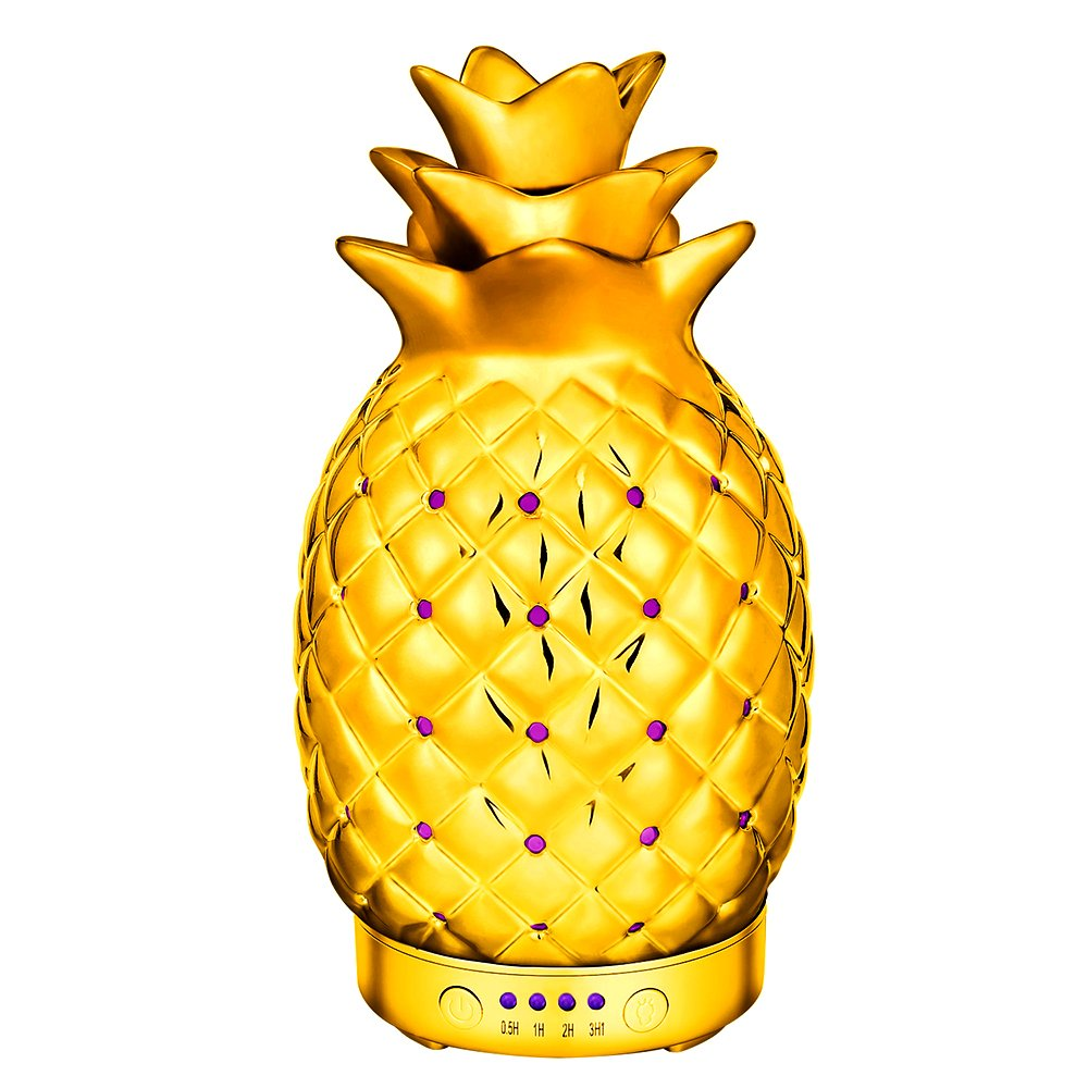COOSA 100ml Essential Oil Diffuser Ceramics Pineapple Pattern Cool Mist Humidifier with 4 Time Setting and 7 Beautiful Color Changing LED Lights for Home Office Bedroom Living Room (Gold)