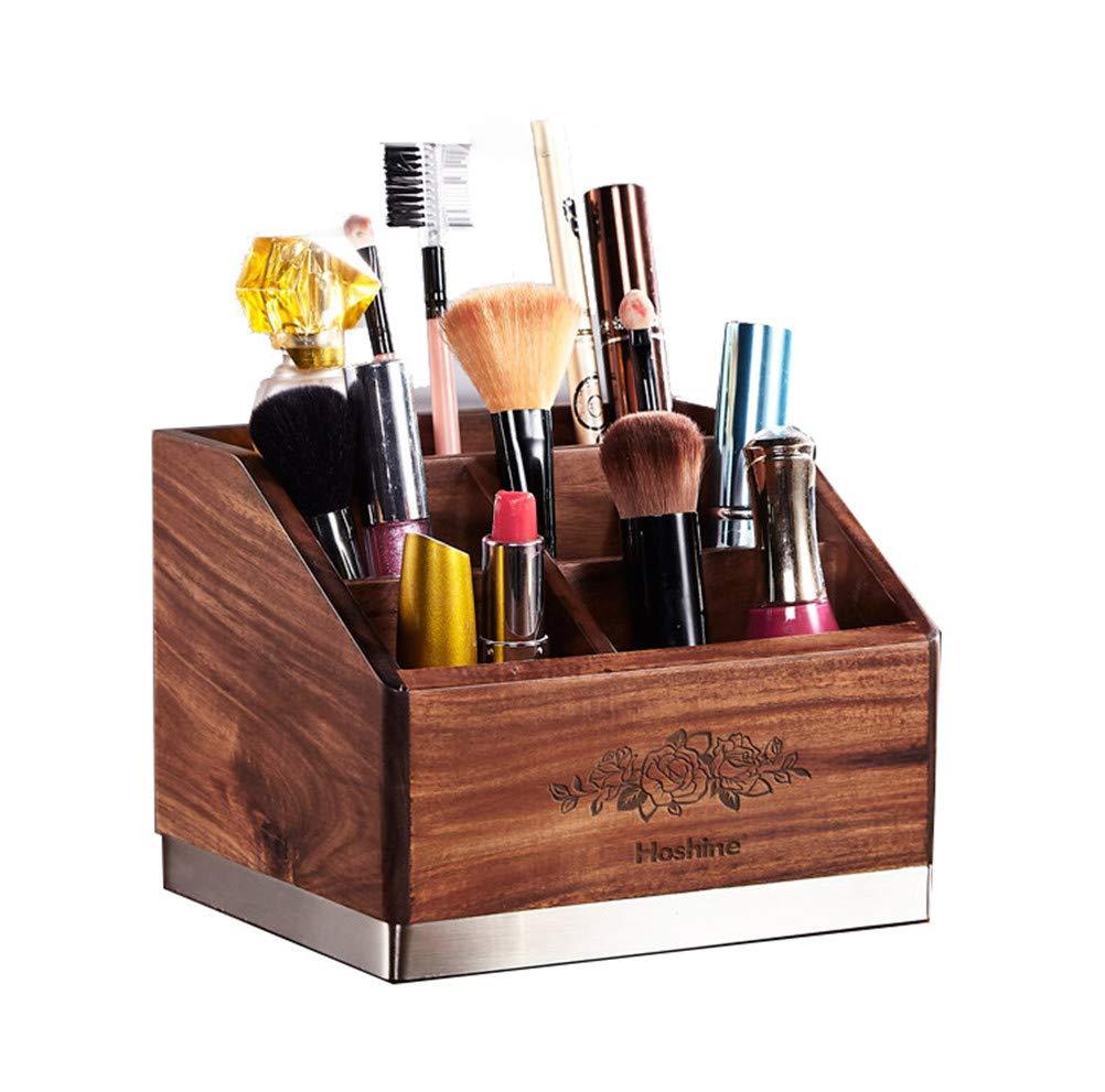 5セクション木製化粧ブラシオーガナイザーボックス多目的ジュエリー化粧品収納ディスプレイテーブルネイルポリッシュスタンドアイシャドウ口紅リップグロスペン以上,A B07SLBTP67 A