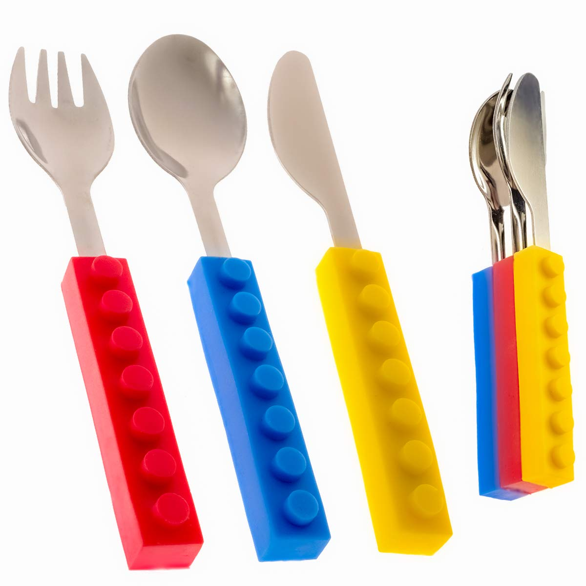 Toddler Utensils and Brick Toys - Set of 3 Interlocking Block Kids Silverware - Toddler Fork and Spoon Set with Toddler Knife for Kids - Non-BPA Kids Cutlery and Kid Safe Stainless Steel Silverware