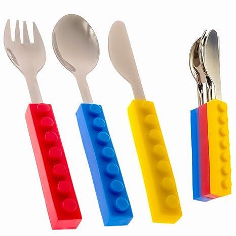 Amazon.com: Kids Cuchara Tenedor Cuchillo ladrillo ...
