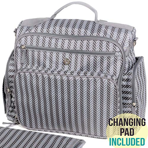 Zohzo Aldridge Diaper Backpack – Diaper Bag with Changing Pad, Insulated Pockets, Wipes Pocket, Waterproof Material, Stroller Straps, and Shoulder Strap (Gray)