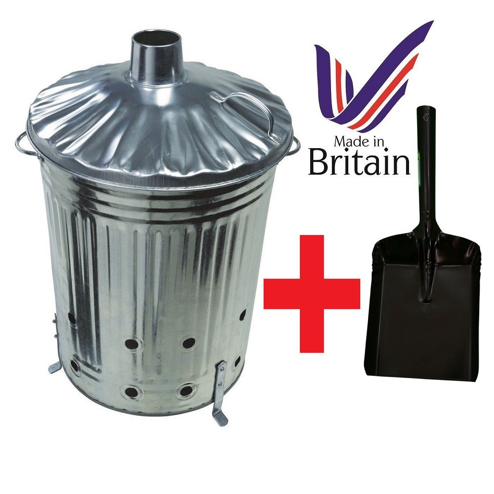 90 Litre 90L Extra Large Galvanised Metal Incinerator Recycle Garden Rubbish Fire Burning Binwith FREE SHOVEL UK