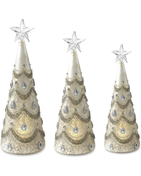 K/&K Interiors 53137A Set of 3 Mercury Glass Led Trees W//Silver Jewels Grad Sizes