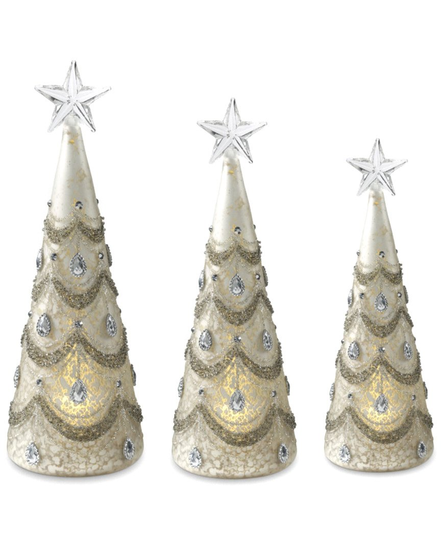 Frosted Antique White Mercury Glass Trees with Silver Glitter & Jewel Accents