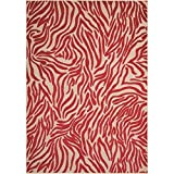 OSD 2'8'' x4' Red Ivory Zebra Stripes Printed Area Rug, Africa Themed, Indoor Outdoor Graphical Pattern Living Room Rectangle Carpet, Exotic Jungle Zoo Safari Outback, Soft Synthetic