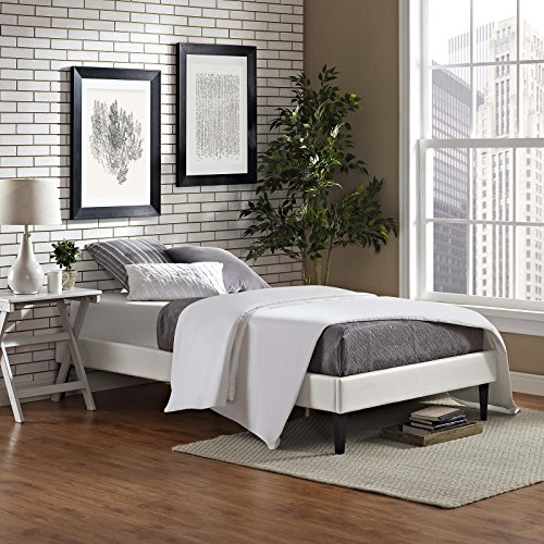 (Modway MOD-5894-WHI Tessie Upholstered Faux Leather Twin Platform Bed Frame with Squared Tapered Legs, White)