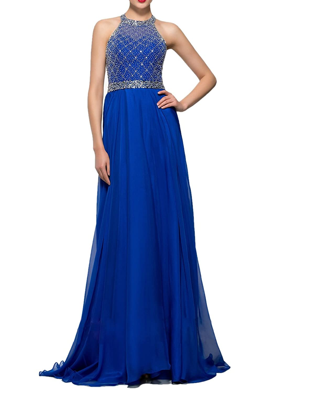 Ikerenwedding Women chiffon Halter Open Back Crystal Beaded Long Prom Dress