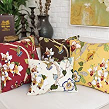 TAOSON Spring Yellow Beautiful Bird Flowers Trees Gorgeous Cotton Soft Home Decorative Throw Cushion Cover Pillow Cover Pillowcase with Hidden Zipper Closure Only Cover No Insert 20x20 Inch 50x50cm