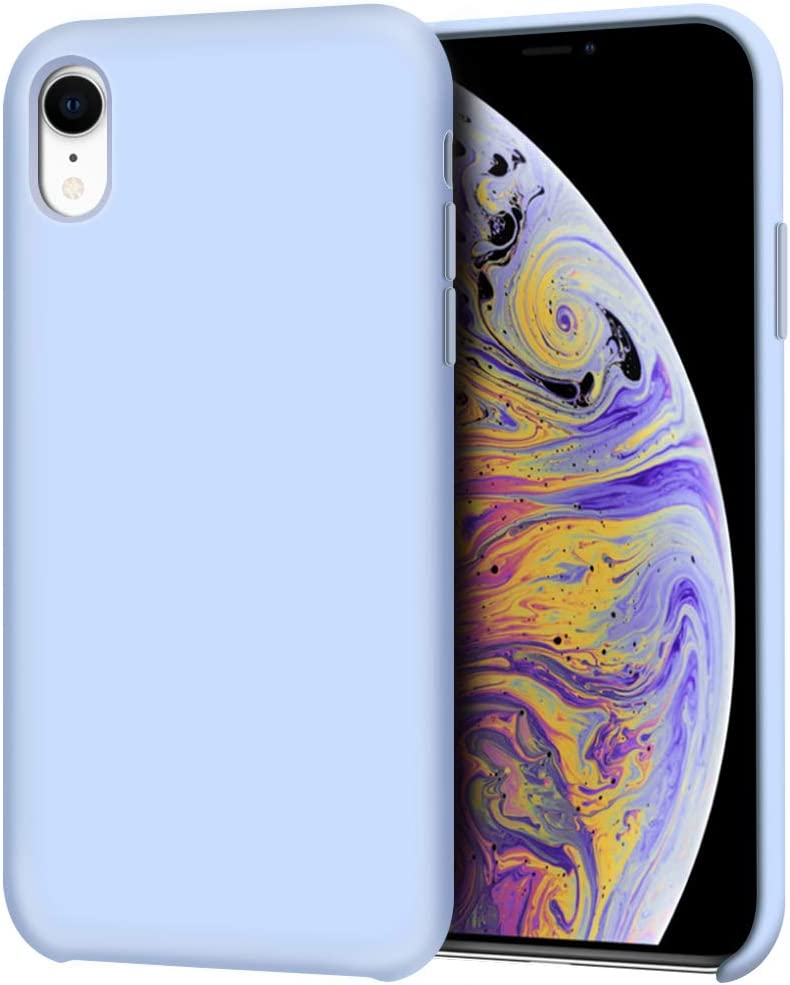 "Anuck iPhone XR Case, Anti-Slip Liquid Silicone Gel Rubber Bumper Case with Soft Microfiber Lining Cushion Slim Hard Shell Shockproof Protective Case Cover for Apple iPhone XR 6.1"" 2018 - Light Blue"