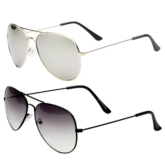 271537dea2 Sheomy Combo Of Stylish Golden Silver Mercury Aviator And Half Black  Aviator Sunglasses With 2 Box  Amazon.in  Clothing   Accessories