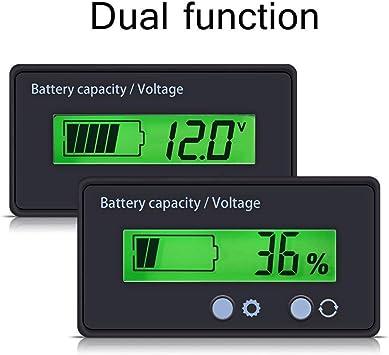 Vert BE-TOOL Voltm/ètre avec /écran LCD 48 V Voltm/ètre Indicateur de tension de batterie au plomb-acide Voltm/ètre Moniteur D/étecteur pour Voiture V/éhicule