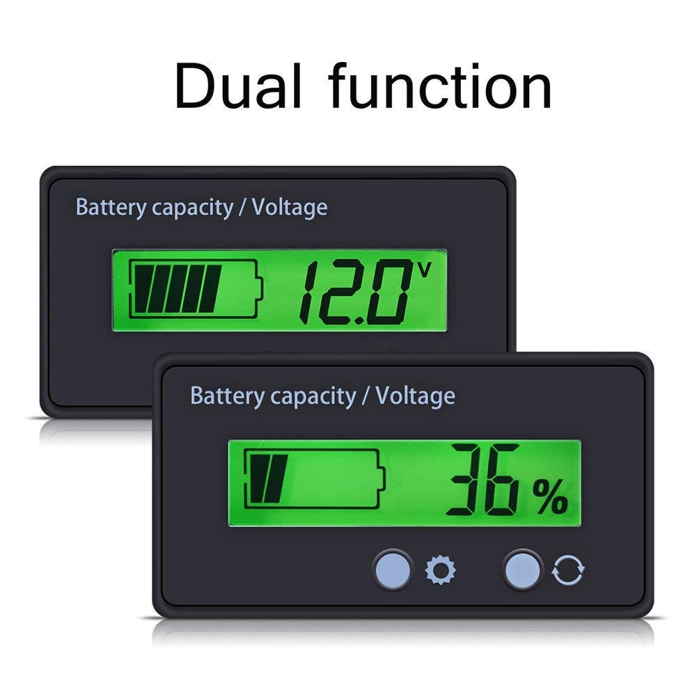 Imperm/éable D/étecteur Moniteur Voltm/ètre Indicateur de Batterie au Plomb de 12V 24V 36V 48V pour v/éhicule ZXX Testeur de capacit/é de la Batterie /& Volt-m/ètre avec /écran LCD r/étro/éclair/é