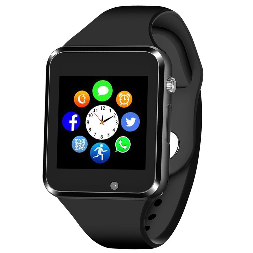 Smart Watch for Android phones iphones, Bluetooth Smartwatch Touch Screen with Camera Sport Tracker Watch for Kids Men Women (Black)