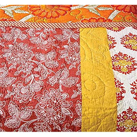 Orange Hand Screened Cotton Bed Quilt King
