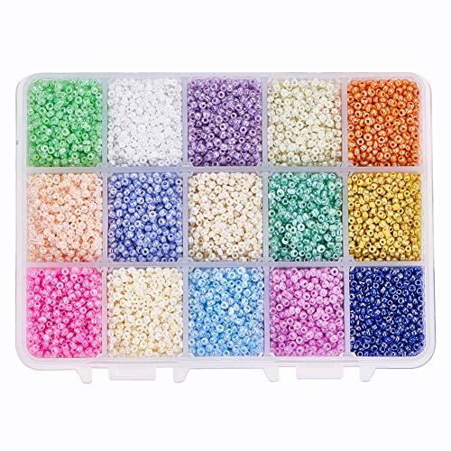 (PH PandaHall About 19500pcs 15 Color 12/0 Glass Seed Beads 2mm Mini Beads with Container Box for Jewelry Making )