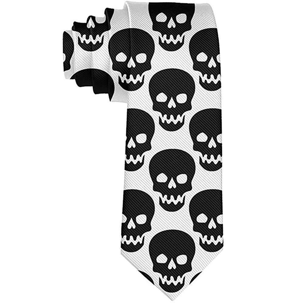 Corbata de moda para hombre Cráneo negro Corbata blanca Corbata de ...