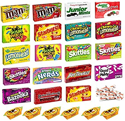 Candy Assortment Party Variety Mix Combo Pack Bundle includes M&M'S, Skittles, Sour Patch, Lemonhead, Good & Plenty, Bazooka, Junior Mints and More