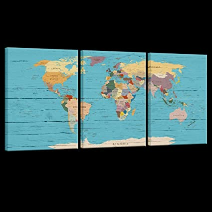 Live Map Of The World.Amazon Com Live Art Decor 3 Panel Canvas Wall Art World Map
