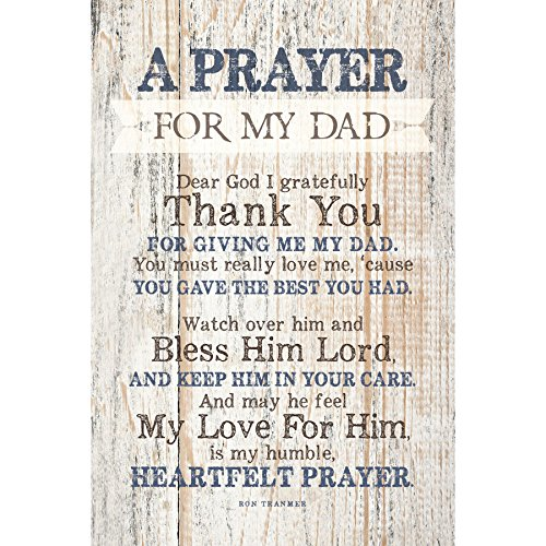 - Dad (Father) Prayer Wood Plaque with Inspiring Quotes 6x9 - Classy Vertical Frame Wall & Tabletop Decoration | Easel & Hanging Hook | Dear God I Gratefully Thank You for Giving me My dad
