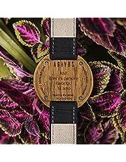 AGAVUS Reloj de madera personalizado - Edición Especial 44mm Teka. Hecho a mano, diseñado y hecho en México. Madera natural de Teka, piel 100% genuina. (Negro)