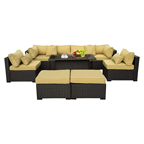 Outdoor PE Wicker Rattan Furniture Set – 9 Piece Patio Garden Sectional Sofa Chair with Olive Green Cushion