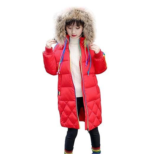 10f07469a LLQ Abajo Ropa para Niña Invierno Abajo Chaqueta Larga Sección Chica Abajo  Abrigo Niña Encapuchado Pluma Ropa Mangas Largas Niña Abrigo Invierno  (Rojo)  ...