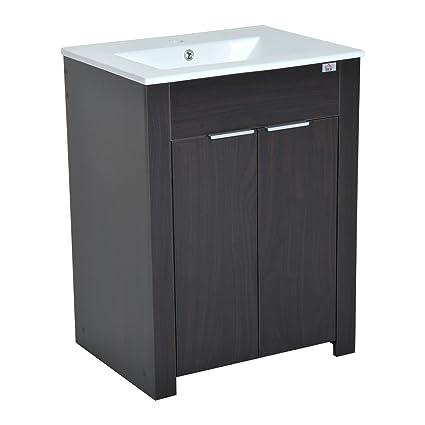 Merveilleux HomCom 24u0026quot; Single Sink Bathroom Vanity Cabinet With Ceramic Sink Top    Dark Coffee