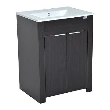 Sink On Top Of Vanity. HomCom 24 quot  Single Sink Bathroom Vanity Cabinet with Ceramic Top Dark Coffee