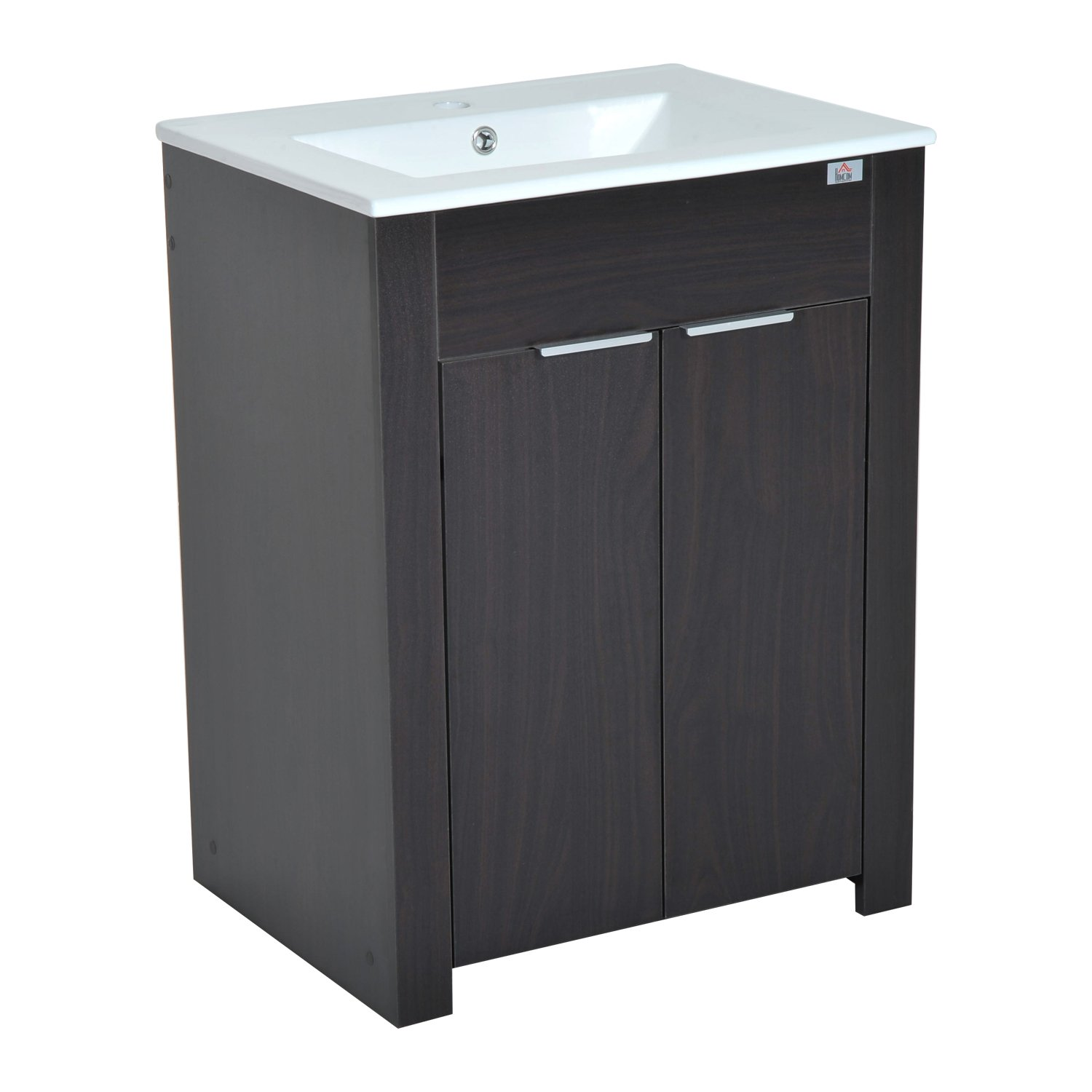 HomCom 24'' Single Sink Bathroom Vanity Cabinet with Ceramic Sink Top - Dark Coffee by HOMCOM