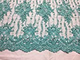 Aqua Magnificent Design Embroider And Beaded On A Mesh Lace-prom-nightgown-yard.
