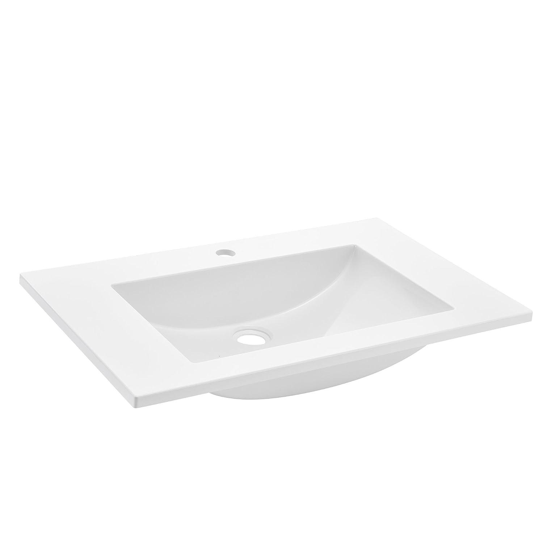 wei/ß aus Mineralguss neu.haus 75x46x14,5cm Waschbecken Einbauwaschbecken Handwaschbecken