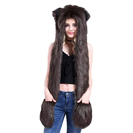 dc18a0001 3in1 Winter Full Animal Faux Fur Hoodie Fluffy Furry Hat Gloves Scarf (Bear)