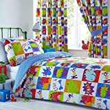 COT BED SIZE Toddler Duvet Cover Set Boys Dinosaur Bedding Quilt Cover Bed Sets (Toddler Size Set (No Curtains))